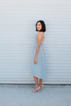 Blue Ruffle Dress - Sweetly Striped