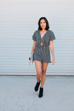 Striped Romper with Front Knot