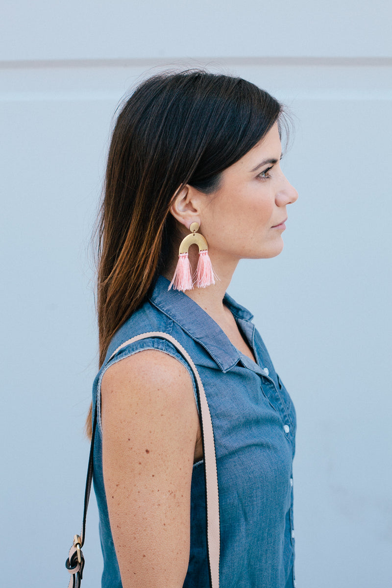 Arc Tassel Earrings - Sweetly Striped