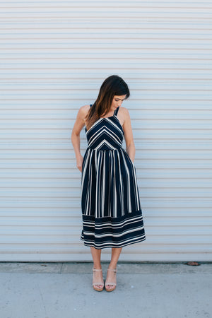 Navy Striped Midi Dress - Sweetly Striped