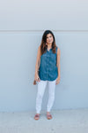Chambray Button Down Tank - Sweetly Striped