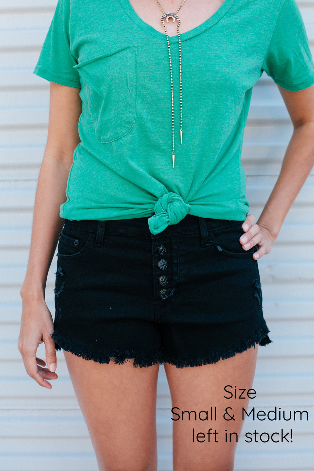 Button Down Denim Shorts - Sweetly Striped