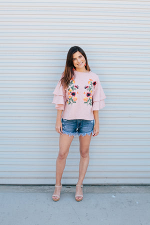Pretty in Pink Embroidered Top - Sweetly Striped