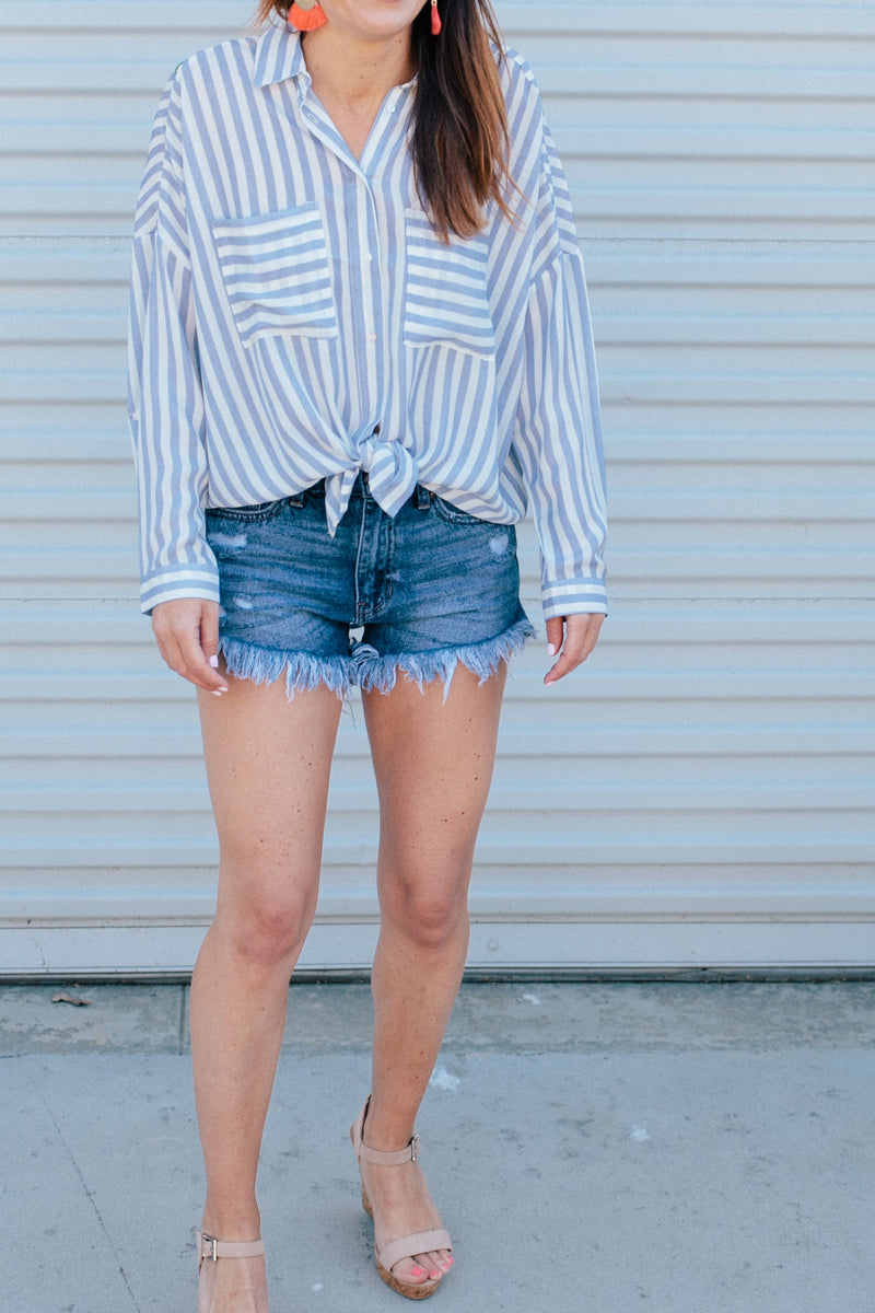 High Rise Distressed Denim Shorts - Sweetly Striped