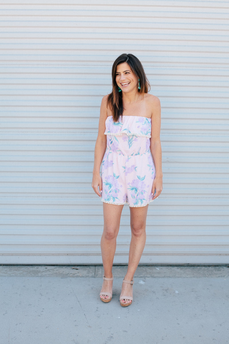 Peach Floral Romper - Sweetly Striped