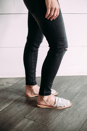 Faded Black Denim - Sweetly Striped