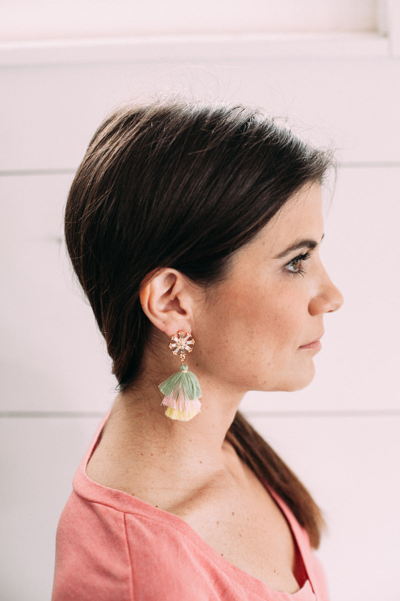 Starburst Tassel Earrings - Sweetly Striped