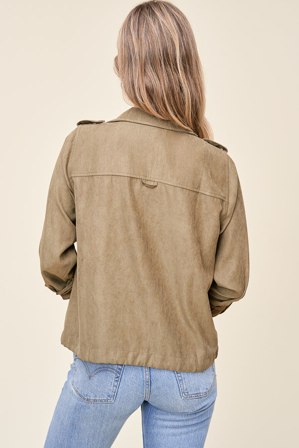 Autumn Breeze Button up Jacket - Olive