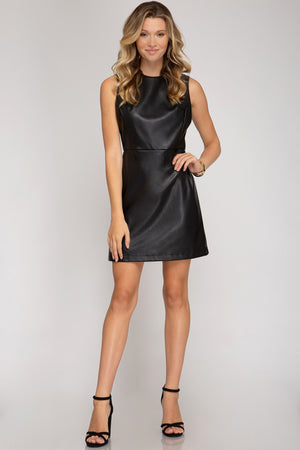 Black Leather Sheath Dress