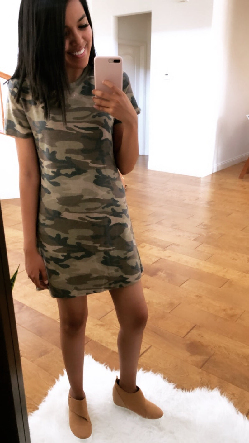 Camo Cutout Dress - Sweetly Striped
