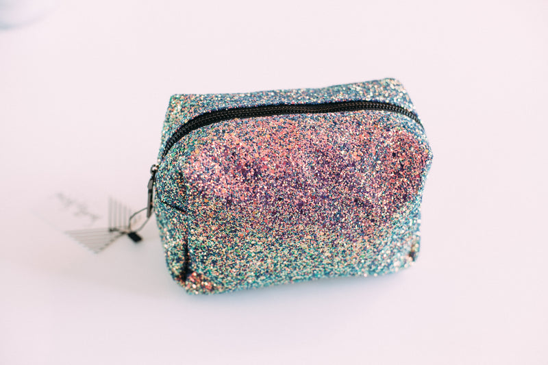 Glitter Makeup Bag - Sweetly Striped