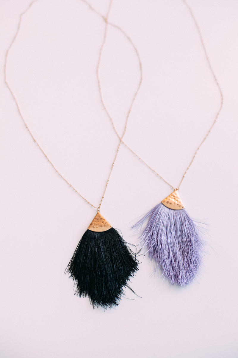 Long Tassel Pendant Necklace - Sweetly Striped