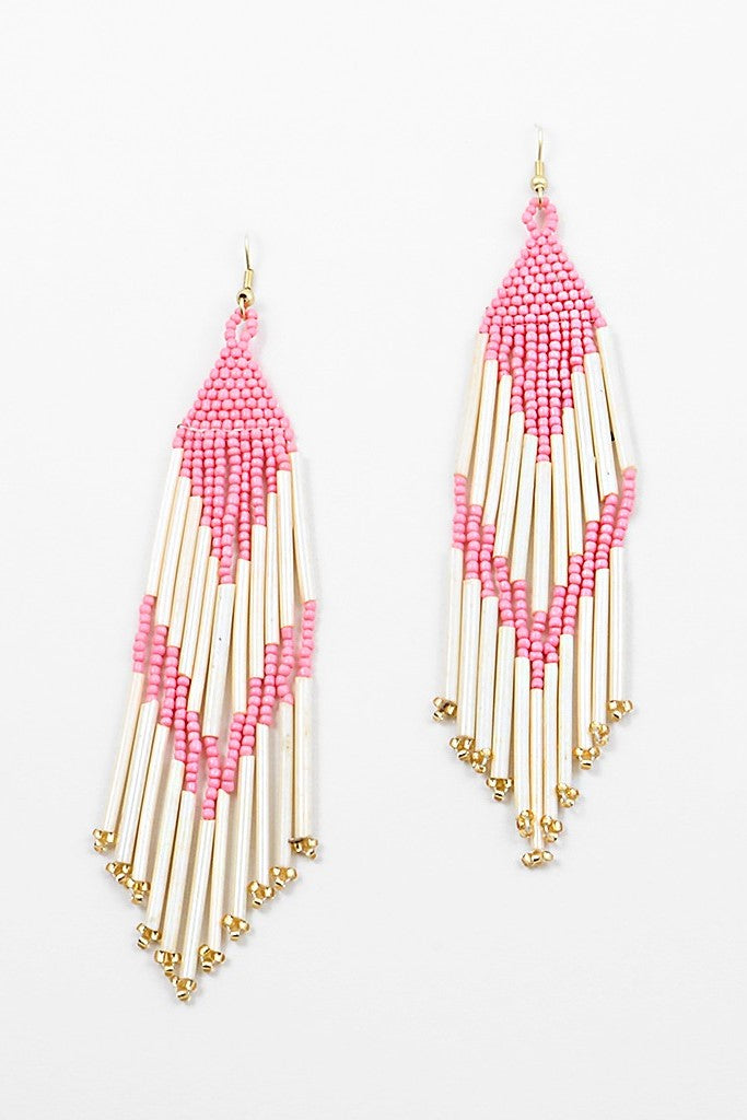 Tribal Beaded Earrings - Sweetly Striped