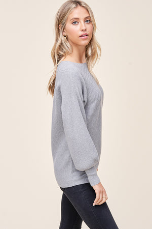 Lightweight Ribbed Sweater Top - Heather Grey