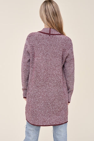 Burgundy Textured Open Front Cardigan