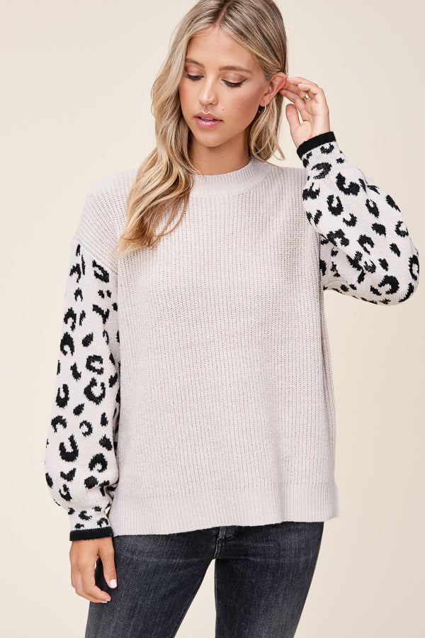 Leopard Balloon Sleeve Sweater