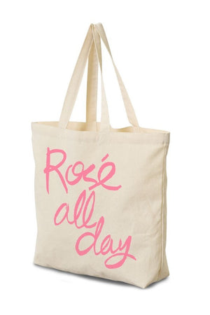 Rosé All Day Canvas Tote - Sweetly Striped