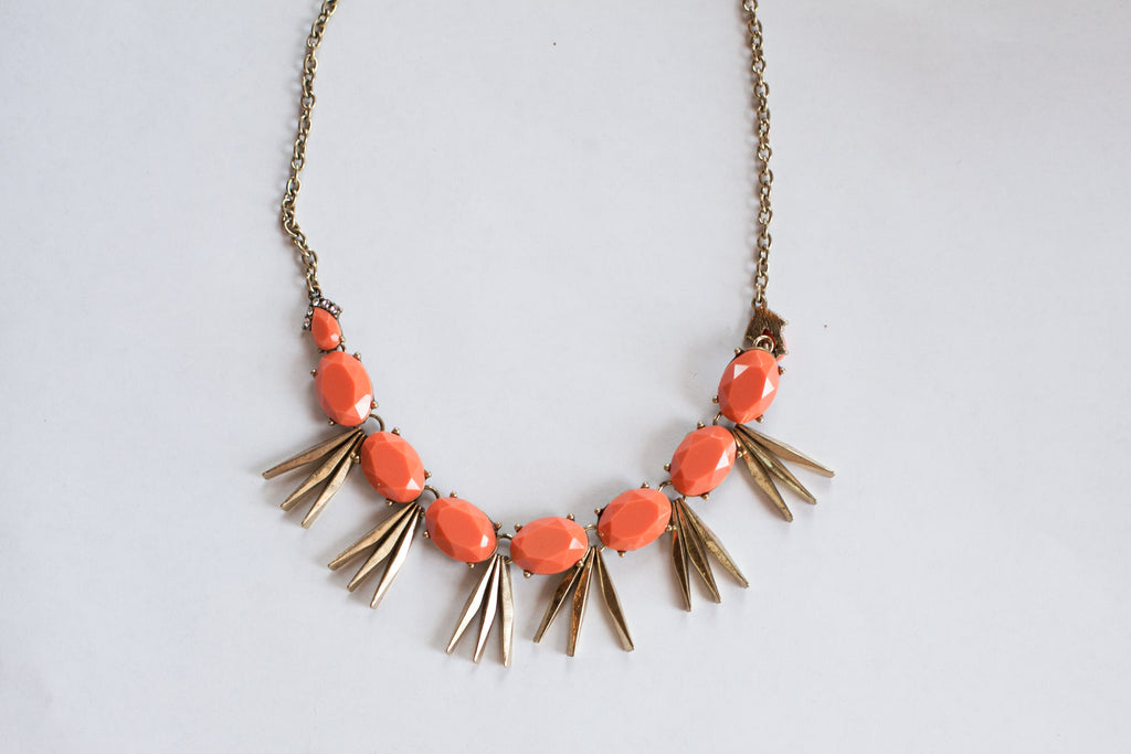 Coral Antiqued Statement Necklace - Sweetly Striped