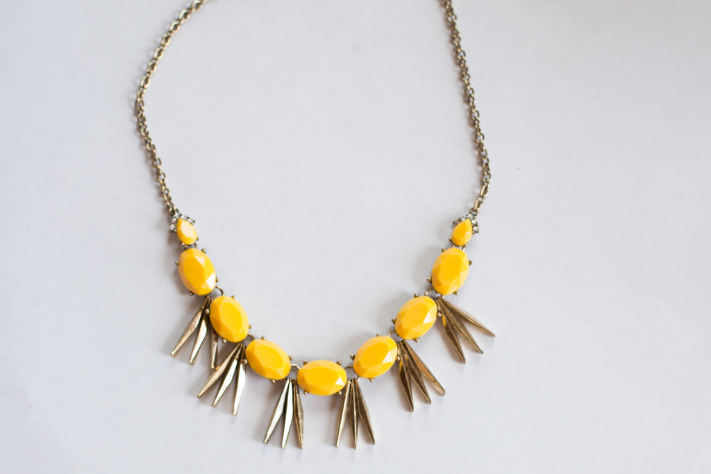 Yellow Antiqued Statement Necklace - Sweetly Striped