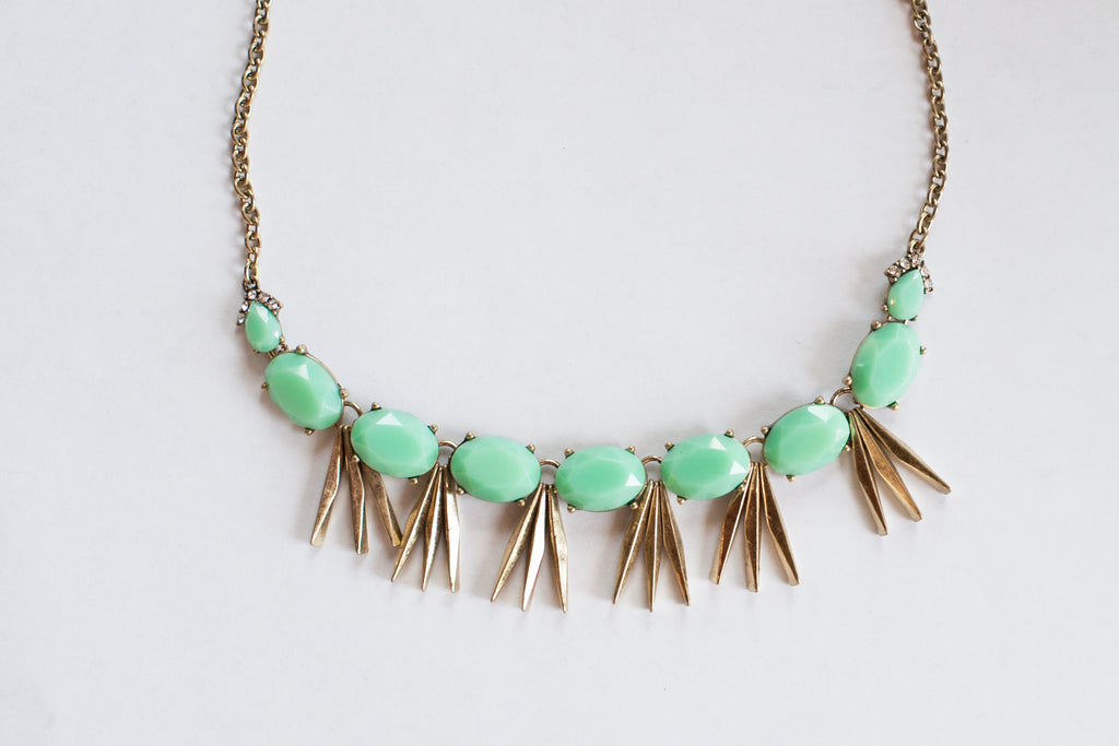 Mint Green Antiqued Statement Necklace - Sweetly Striped