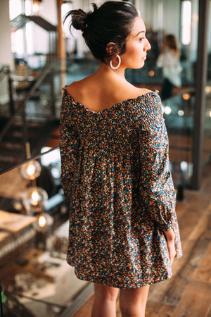 Off the Shoulder Floral Dress - Sweetly Striped