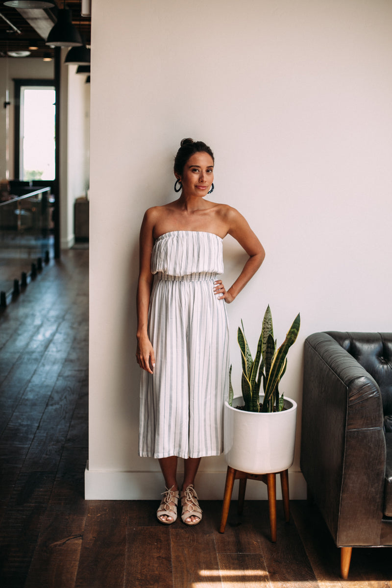 Striped Tube Top Jumpsuit - Sweetly Striped