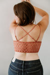Double Strap Lace Bralette - Brick - Sweetly Striped