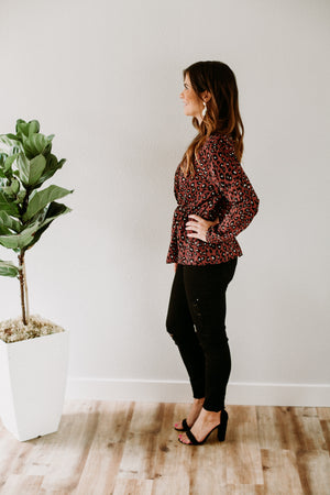 Leopard Peplum Blouse - Sweetly Striped