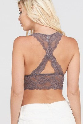 Feminine Lace Racer-back Bralette - Sweetly Striped