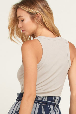Fitted Ribbed Tank - Shell - Sweetly Striped