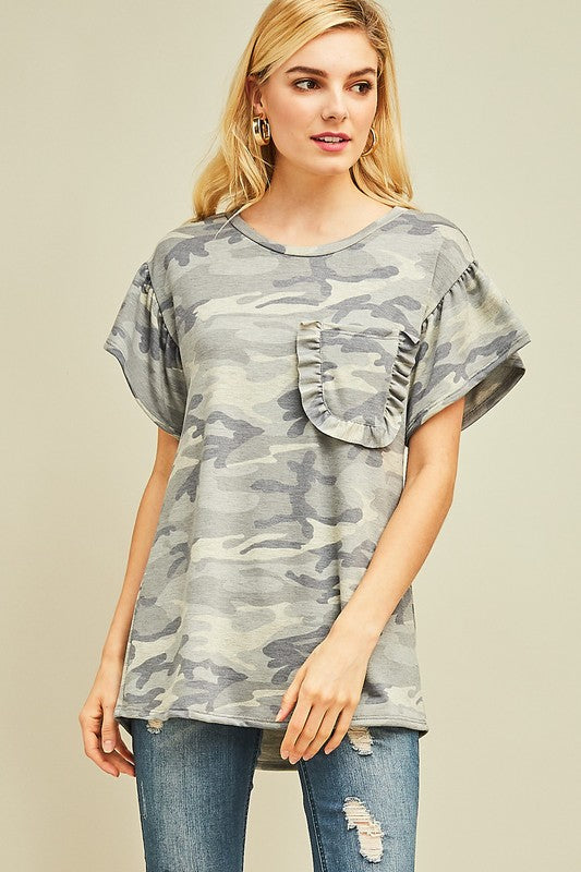 Frilly Camo Top