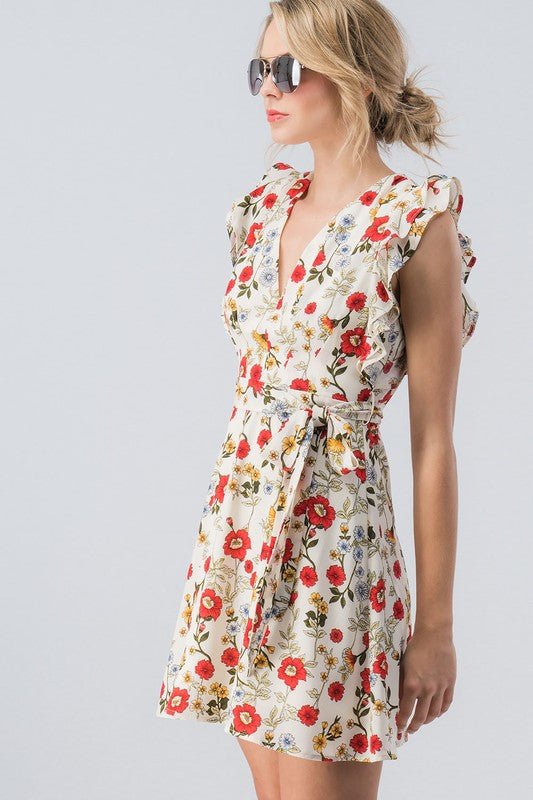 Ruffled Floral Dress - Sweetly Striped
