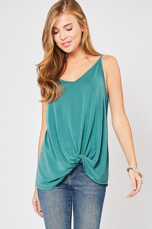 Green With Envy Knot Camisole - Sweetly Striped