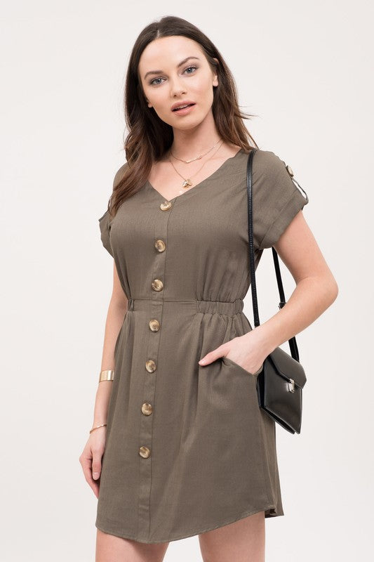 Olive Dress - Sweetly Striped