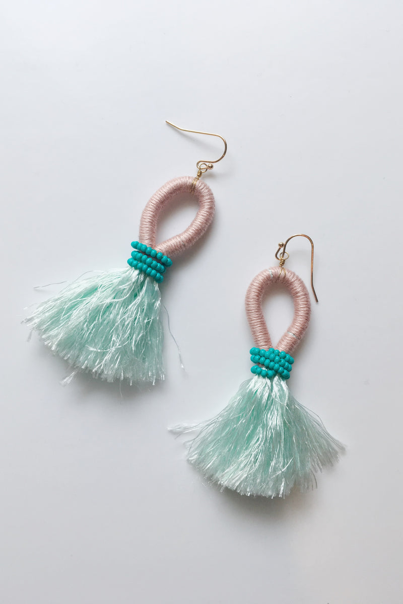 Caribbean Tassel Earrings - Aqua - Sweetly Striped