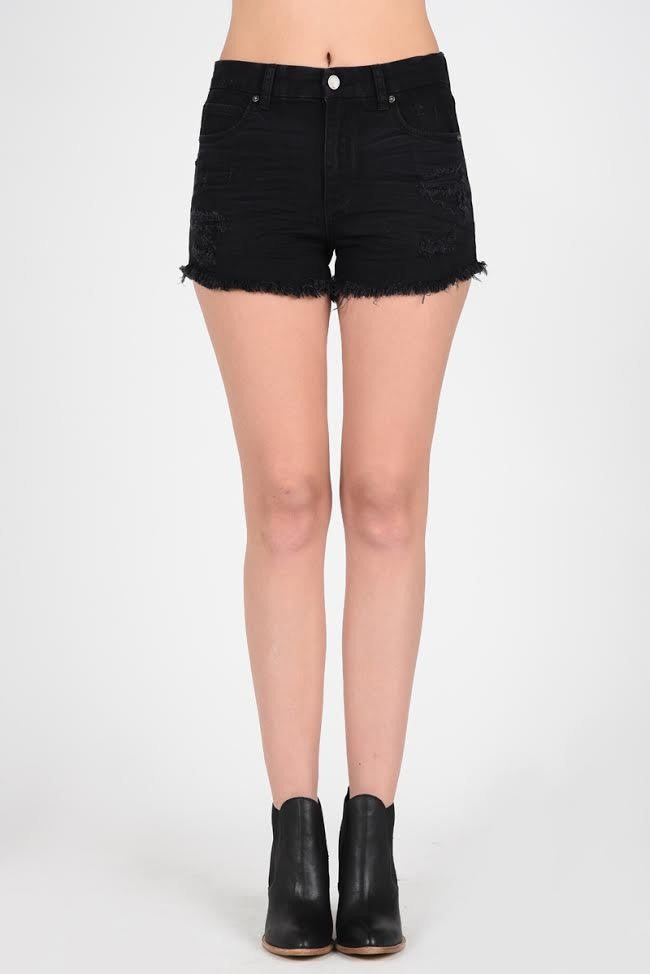 Black Frayed Jean Shorts - Sweetly Striped
