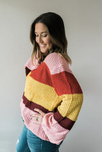 Boho Color Block Sweater - Pink - Sweetly Striped