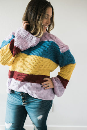 Boho Color Block Sweater - Lavender - Sweetly Striped