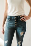 Hadley Distressed Ankle Denim - Sweetly Striped