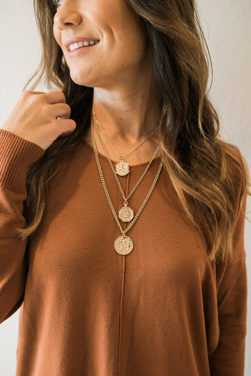 Layered Coin Necklace - Sweetly Striped