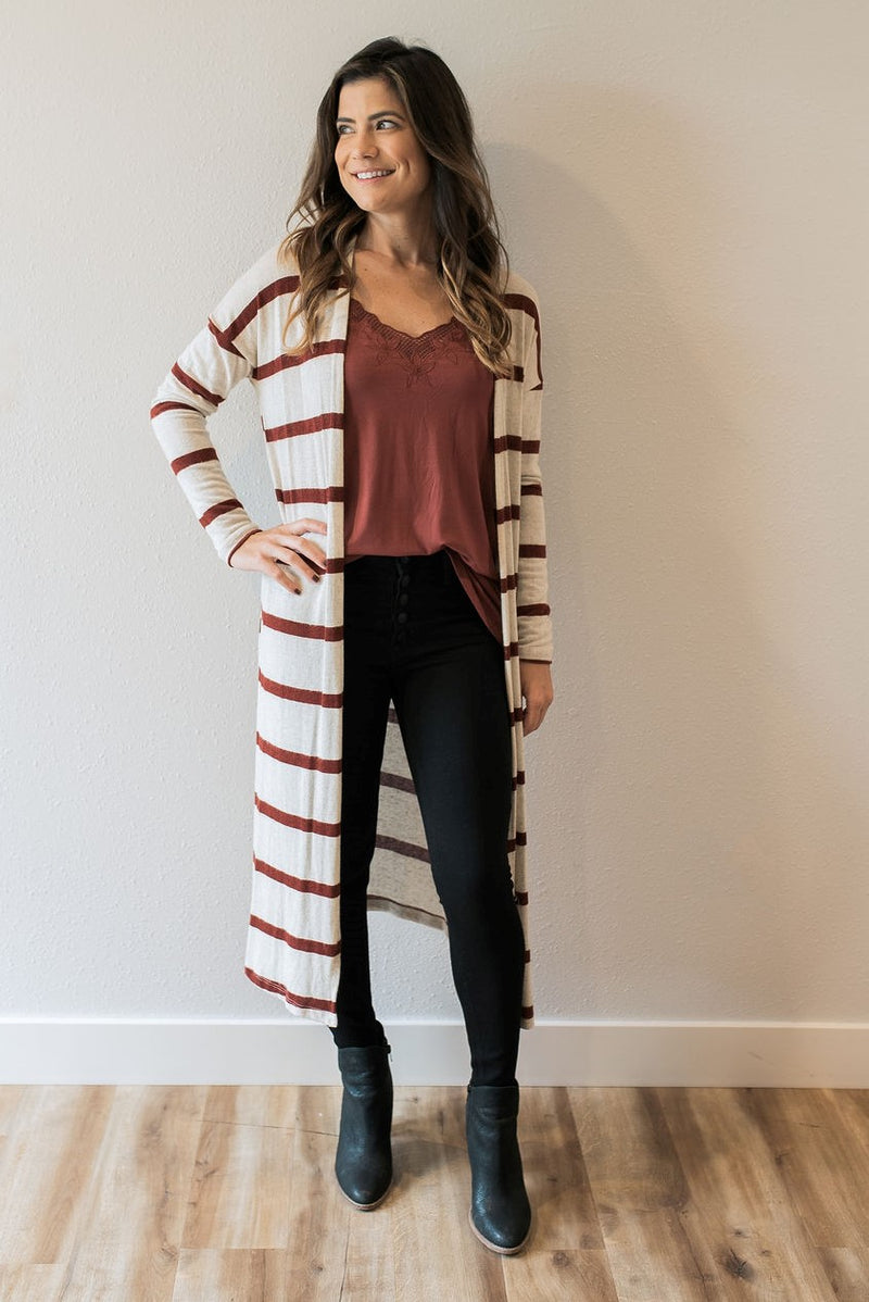 Burgundy Striped Duster - Sweetly Striped
