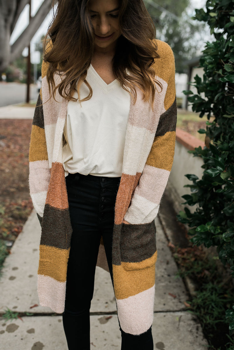 Let's Get Cozy Color Block Cardigan - Sweetly Striped