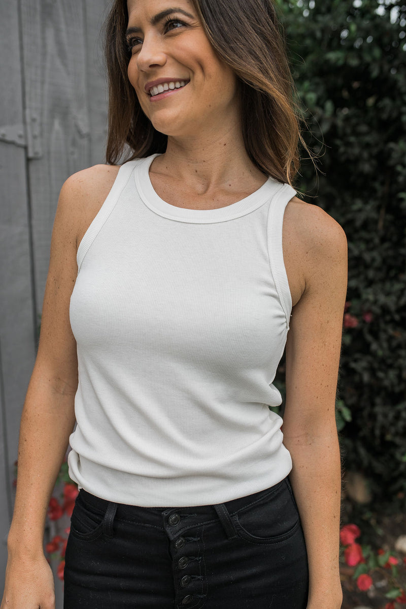 Fitted Ribbed Tank - Ivory - Sweetly Striped