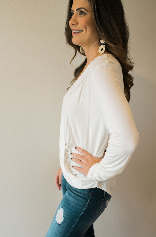 Long Sleeve Wrap Top - Sweetly Striped