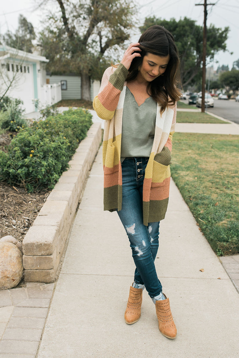 Sunny Days Color Block Cardigan - Sweetly Striped