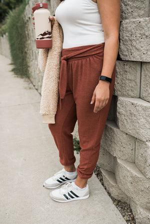 Cozy Tie Front Joggers - Brick - Sweetly Striped
