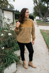 Fluffy Button Up Pullover - Brown - Sweetly Striped