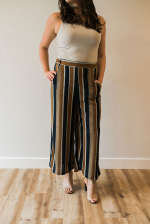 Striped Mustard Culottes - Sweetly Striped