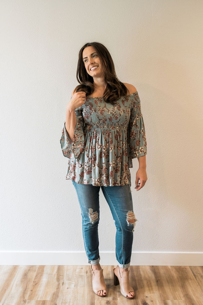 Sage Smocked Floral Top - Sweetly Striped