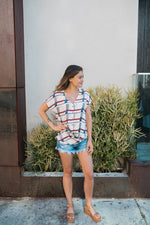 Abstract Button Down Top - Sweetly Striped
